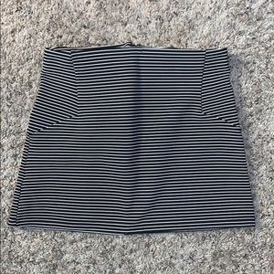 Black and White Stripped Mini Skirt